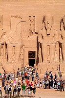 Egypt, Abu Simbel, big temple,  Colossal statues, detail, visitors  Africa, head Egypt, destination, destination, sight, landmarks, culture, rock temp...