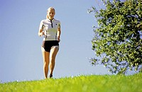 Meadow, woman, young, Jogging   20-30 years, blond, athletically, sportswear, leisure time, casual activity, sport, casual sport, fitness, movement, a...