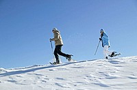 couple, snowshoe hiking, Movement, side view, Deep snow, winters, Winter landscape, winter clothing, snowshoes, ski poles, locomotion means, running, ...
