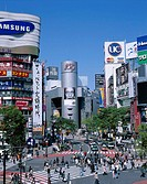Japan, Tokyo, borough Shibuya,  skyscrapers, street scene, crossing, Crosswalks, pedestrians, Asia, Honshu, capital, city of millions, quarters, Busin...