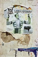 Spain, Andalusia, Costa of de la Luz,  Tarifa, house wall, detail, poster,  Bullfight Europe, Southern Europe, Iberian peninsula, old town, facade, fi...