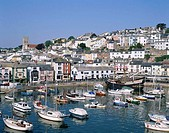 Great Britain, England, Devon,  Brixham, skyline, harbor, boats,   Europe, island, bay Torbay, city, town, view at the city, resort, summer, fisher bo...