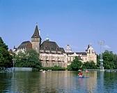 Hungary, Budapest, castle Vajdahunyad,  Sea, rowboats,  Series, capital, castle buildings, construction, architecture, Architect, Ignac Alpar, culture...