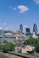 Great Britain, England, London,  Skyline, architecture, old, new,  skyscrapers, Swiss Re tower,  Europe, island, city, capital, view at the city, Tham...