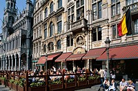 Belgium, Brussels, Grand´ Place,  Street cafe  Series, Benelux, capital, residence city, capital, big place, market place, gable houses, house facades...