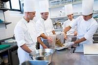 Chefs, prawns. Luis Irizar cooking school. Donostia, Gipuzkoa, Basque Country, Spain