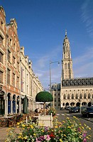 France, Pas-de-Calais, Arras,  Place of the Heros, town hall,   Europe, North France, city, house facades, street pub, landmarks, buildings, construct...