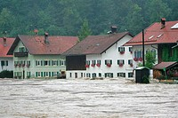 Germany, Bavaria, Eschenlohe,  River Loisach, high waters, skyline, Houses, floods not exclusive Europe, Upper Bavaria, South Bavaria, village, Überfl...