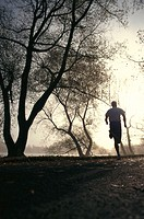 Way, man, Jogging, view from behind,  Tomorrow light  Athletes, sport, runners, run sport, leisure time, fitness, movement, activity,  foggily, mornin...
