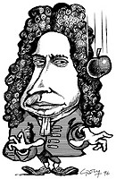 Isaac Newton  Caricature of the English scientist Isaac Newton 1643-1727, shown with a falling apple, representing his theories of gravity  It is said...