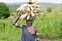 Surma woman. Near Kibish. Ethiopia.