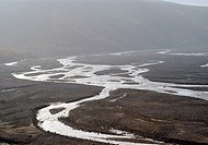 Winding river beds in Denali National Park. Alaska. United States