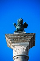 Detail of the Lion of St. Mark Crowning the Column of San Marco in Venice