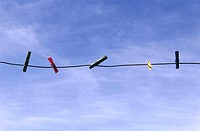Clothes line, clothes pins, heaven,    Household, housework, rope, string, empty, clamps, concept, hang up, dry, color mood, color blue,