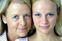 Two, women, woman, generations, grandmother, granddaughter, portrait, face, blond, studio, inside, family