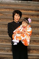 Japan, Nagano, Shichi-Go-San festival,  Grandmother, grandson daughter, holding,   Series, Asia, Eastern Asia, holiday, holiday, Shichi Go San, 'seven...