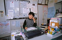 Office worker, desk, telephone call,    Office, business, employees, woman, Asian, work, occupation, telephonist, telephone conversation, telephones, ...