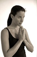 Folded woman, young, hands, Yoga, Portrait, s/w,   Series, 20-30 years, long-haired, brown-haired, Top black, prays, prayer, prayer, silence, silence,...