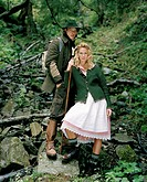 couple, young, forest, nature, hiking,    Series, 20-30 years, leisure time, Dirndl, traditional costume, boots, hat, backpack, traveling clothing, st...