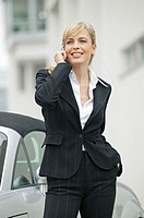 Cabrio, businesswoman, cell phone, stand, telephones, happy,   Series, 20-30 years, woman, young, blond, elegantly, telephone, telecommunication, smil...