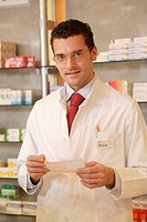 Pharmacists, recipe, hold, smiling,  Half portrait,   Series, pharmacy, man, employee, PTA, frocks, looking at working clothes, papers, control, dilig...