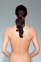 Woman, young, naked, view from behind, Detail,   Series, 20-30 years, upper bodies free, dark-haired, long-haired, Beauty get along braid, figure, bod...