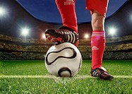Soccer players, detail, foot, ball, support,  Stadium, back light,  no property release,  Series, man, players, legs, football clothing, football shoe...