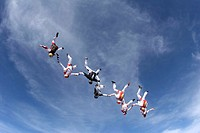 Skydiver, suitors case formation headlong,  Hands hold,   Parachutists, 8 people, athletes, extreme athletes, sport, extreme sport, parachute jump, pa...