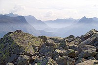 Austria, Vorarlberg, Montafon,  Rocks, outlook, Bergpanorama,   Europe, Alps, central Alps, overlook, boulders, overview, mountains, mountains, summit...