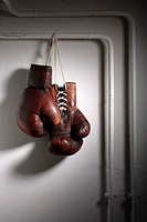 Boxing gloves, old, hang,    Cellars, tubes, gloves, boxings, sport, fitness, sport equipment, leather, leather gloves, concept, aggression, enforceme...