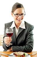 Businesswoman dining