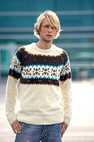 Man, young, rope sweaters, detail,  Autumn,   Series, 20-30 years, blond, Drei-Tage-Bart, sweaters, Norwegian sweaters, stand, waiting, thoughtfully, ...