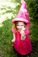 Girl in a pink princess costume
