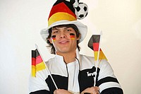 Man, young, football fan, smiling hat,  Face painting, pennants, portrait,  truncated, no property release,  Series, men´s portrait, 20-30 years, dark...