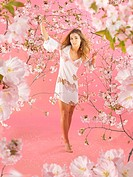 Woman, summer dress, nakedfoot, movement, Cherry tree, detail, branches, blooms,   Series, 20-30 years, brunette, long-haired, naturalness, , fruit tr...