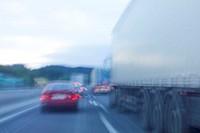 Highway, traffic, trucks, passes, fuzziness