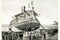 Launching of French battleship ´Formidable´. Lorient, France. Drawing from 1885