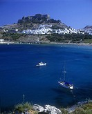 Castle ruins, Lindos, Rhodes coastline, Greece.