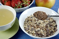 Muesli, with, linseed, Common, Flax, Linum, usitatissimum