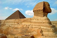 Sphynx and pyramid, Gizeh. Egypt