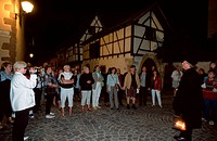Tourists, and, Night, Watchman,, Turckheim,, Alsace,, France