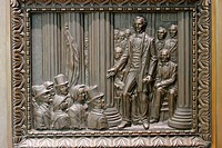 Alabama, Montgomery, State Department of Archives and History, Bronze Panel Doors, Jefferson Davis sworn 1861