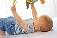 Baby boy ( 6-12 months ) lying on back, holding toy (thumbnail)