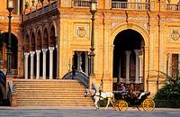 Spain, Andalusia, Sevilla, Plaza de Espana (Spain Square) built for the 1929 Universal Exhibition