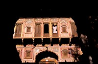 India, Rajasthan, city of Nawalgarh, Choti Bhagaton Ki Haveli (house), first courtyard´s facade
