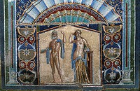 Italy, Campania, Herculaneum, mosaic in the yard of Neptune house (fountain and bath) and amphitrite