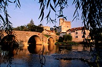France, Dordogne (24), Bourdeilles village, the castle dominates the Dronne river