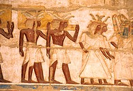 Egypt, Nile Valley, Luxor region, painting in Medinet Habu temple