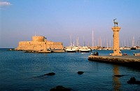 Greece, Dodecanese, Rhodes Island, the city of Rhodes, the entry of the Mandraki harbour
