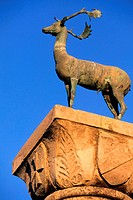 Greece, Dodecanese, Rhodes island, the stag on the top of the column at Mandraki port entrance